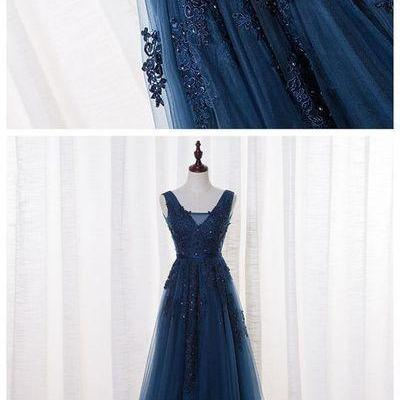 A-LINE V-NECK FLOOR LENGTH TULLE PROM DRESS/EVENING DRESS WITH APPLIQUES