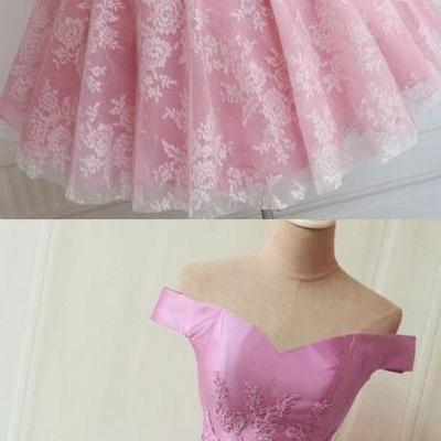 Short, A-line/Princess, Prom Dresses, Pink Sleeveless ,With Bow knot, Mini Homecoming Dresses , Sexy ,Off-the-shoulder ,Mini Dresses,2018