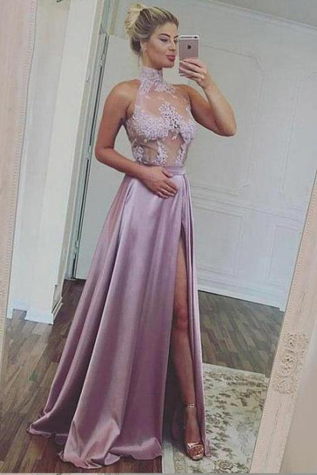 Illusion Bodice Prom Dress with Slit ,Satin Halter,Sleeveless Formal ,Shine Prom Dresses,Elegant Prom Dresses, New Style Evening Dress
