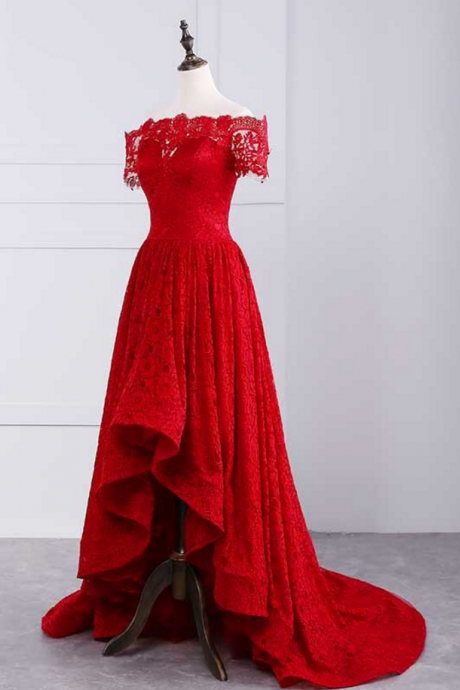 sexy prom dresses,off shoulder prom dresses,lace prom dresses,red prom dresses,Sexy Formal Evening Dress,Custom Made