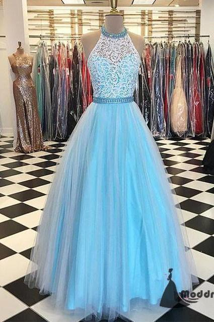 Blue Long Prom Dress Halter Lace Tulle Evening Dress Formal Dress