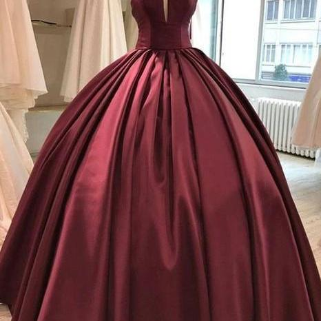 Floor Length Satin party dress Burgundy Ball Gown Evening Dresses strapless prom dress